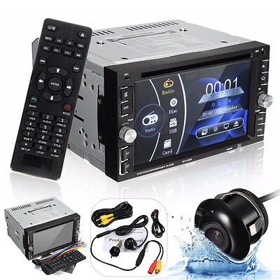 Double 2 DIN Car DVD CD USB FM Radio Touch Screen In Dash Stereo Radio + Camera
