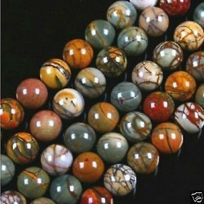 4MM 6MM 8MM 10MM 12MM 14MM Natural Picasso Jasper Round Loose Beads Strand 15""
