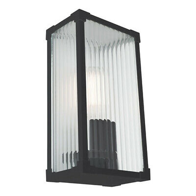 NEW Mercator Cambridge Die Cast Aluminium & Stippled Glass Outdoor Wall Light -