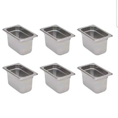 """6-Pack 1/9 Size Stainless Steel Silver Steam Table / Hotel Pans - 4"""" Deep"""