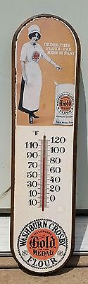 Washburn Crosby Gold Medal Flour Wooden Sign with Thermometer