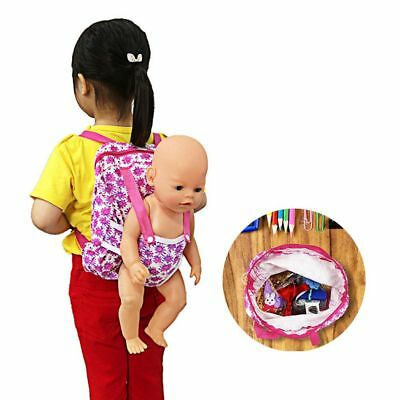 "Children Kids Backpack & Doll Carrier Bag For 18"" American Girl Clothes Pink"