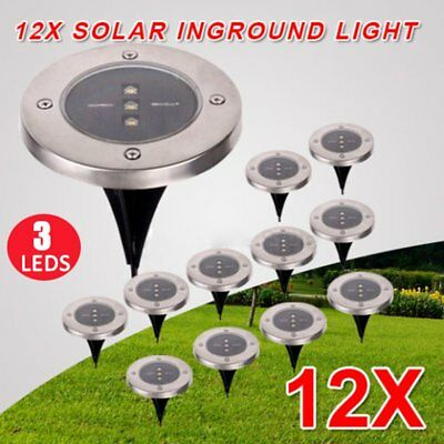 12PCS Solar Powered LED Buried Inground Ground Light Outdoor Pathway Path Lamp W