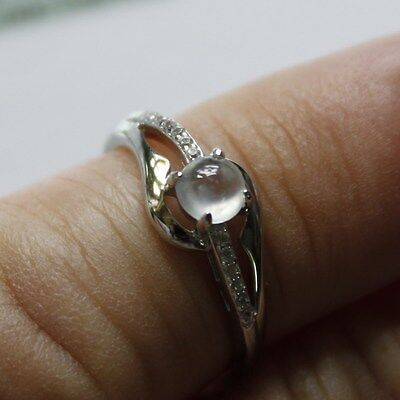 Size 5 1/2 ** CERTIFIED Natural (Grade A) Icy White Jadeite JADE Ring 925 Silver