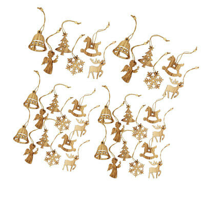 12pcs Wood Christmas Tree Hanging Ornament Decoration Wine Bottle Gift Tags