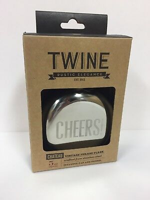 NEW Twine Chateau Phrase Flask CHEERS Stainless Steel 5 oz Cap & Funnel (B626)