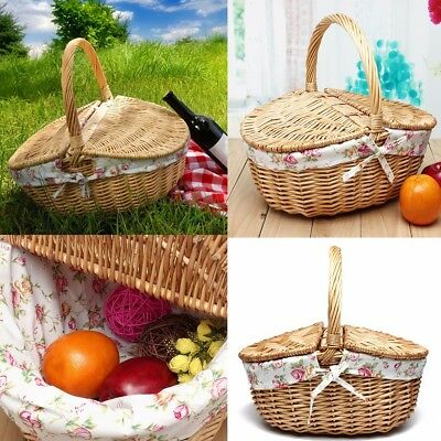 Travel Outdoor Wicker Hand Picnic Storage Handle Basket Shopping Camping Hamper