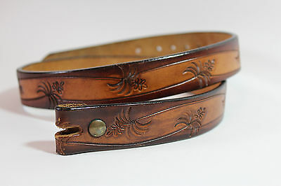 Vintage Tooled Leather Western Belt Strap No Buckle 30-31
