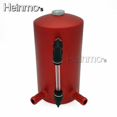 """0.5L 13mm 1/2"""" Polished Barb Aluminum Oil Catch Breather Tank Reservoir Red"""