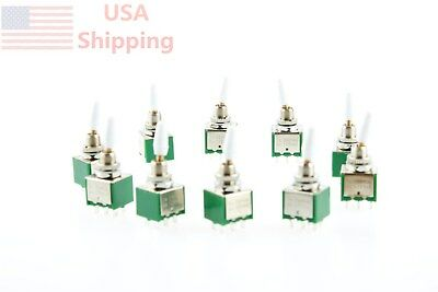 2A//250VAC Toggle Switch White Handle 6Pin DPDT ON//ON 2 Position 10Pcs