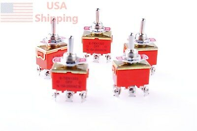 Amps ON/OFF/ON 3 Position DPDT Toggle Switch 5Pcs AC 250V 15A