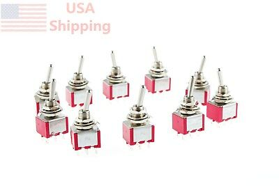 ON/ON 6 Pin Panel Mounted 2A/250VAC 5A/120VAC DPDT MTS-202 Toggle Switch 10Pcs