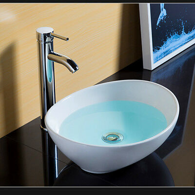 Modern Oval Bathroom Ceramic Counter Top Wash Basin Sink Washing Bowl White