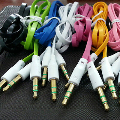 3.5mm Male to Male Flat Car Stereo Audio Auxiliary AUX Cable Cord For MP3 PC New