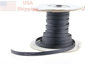Black Sleeving Sheathing Loom Braided Tubing Expandable Wire Cable 50Ft 1/4