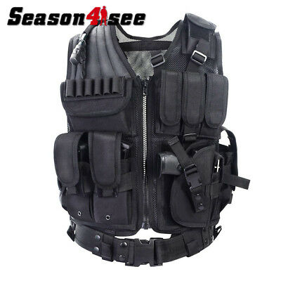 600D Tactical Molle Vest Paintable CS Protective Breathable w/ Ammo Tool Pouches
