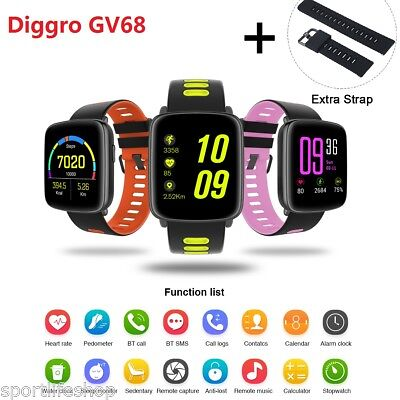 Diggro GV68 IP68 Smart Watch Heart Rate Pedometer Music&Camera for Android IOS