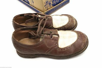 VTG 1940s Childrens  Shoes 2-Tone Oxfords Blue Jay Juniors SZ 1 Used  Great Box
