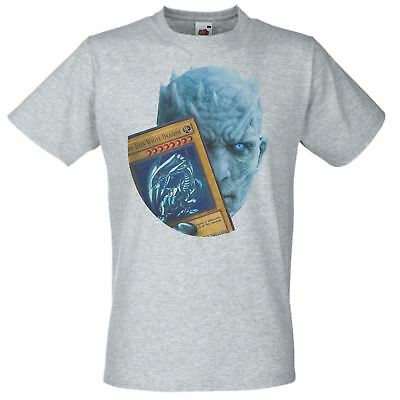 Mens Grey Night King Blue Eyes White Dragon T-Shirt Game of Thrones TShirt