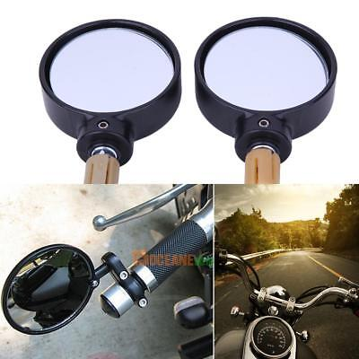 1 Pair Universal Motorcycle Black Round Handle Bar End Rear View Side Mirrors