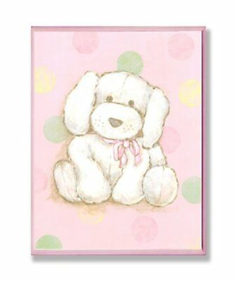 The Kids Room by Stupell Puppy with Polka Dot Background Rectangle Wall Plaque