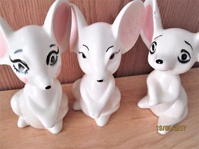 3 Vintage White Porcelain Mice With Big Eyes And Ears Figures