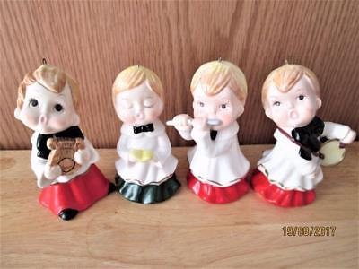 4 Vintage Bisque Carolers Playing Music Christmas Ornament Figures