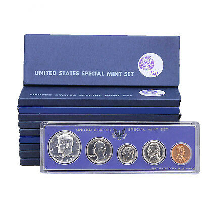 1967 SMS 10 Pack Original Boxes 40% Silver Kennedy US Special Mint Sets
