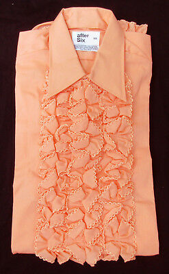 New Vintage Peach Orange Ruffle Front Tuxedo Shirt 70's Disco Halloween Costume