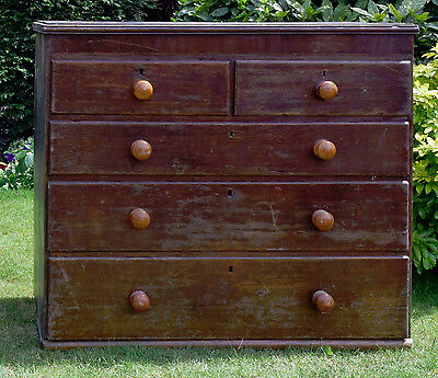 Antique Oak Chest of 5 Drawers