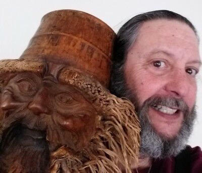 Bamboo Root Wood Sculpture/Mask Old Man in the Wood biggest version you ever saw