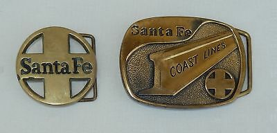 2 Vintage Santa Fe Coast Lines Railroad Solid Brass Belt Buckles
