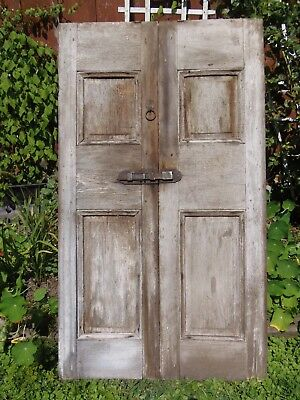 Old Antique Window Shutters Raised Panel House Shutter Doors White Wash 56 x 31