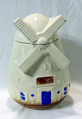 Antique Vintage Cold Painted  Pottery Holland Dutch Windmill Cookie Jar With Lid