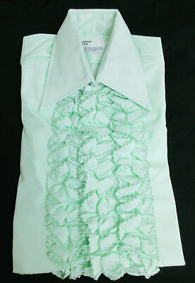 New Vintage Green Ruffle Front Tuxedo Shirt 1970's Prom Disco Halloween Costume