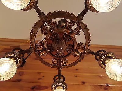 Antique 1920s Cast Bronze/Brass Art Deco/Gothic Chandelier Ceiling Light Fixture