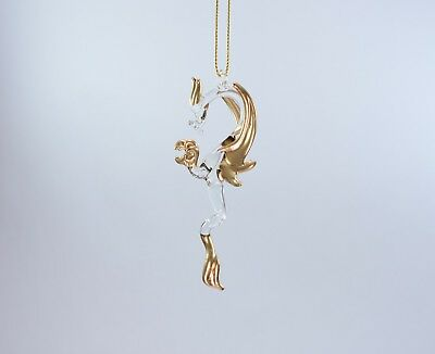 Hanging Gold Clear Dragon of Blown Glass Crystal