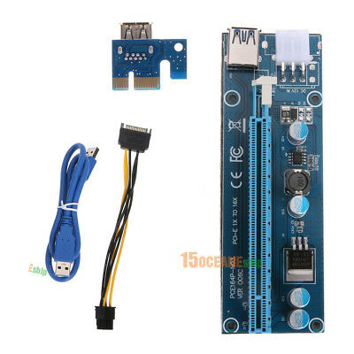USB 3.0 Pcie PCI-E Express 1x to 16x Mining Extender Riser Adapter 15-6Pin Cable