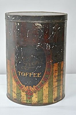 """A large RARE Maison Lyons Toffee Tin Old Confectionary Tin 12"""" Tall RETRO"""