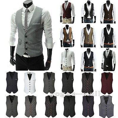 Mens Waistcoat Formal Business Suit Vest Slim Wedding Casual Tuxedo Coat Tops