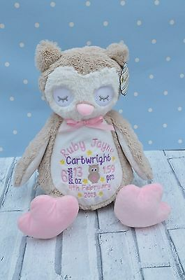 Personalised Baby gift Owl Teddy Bear Gift,Embroidered new baby christening gift