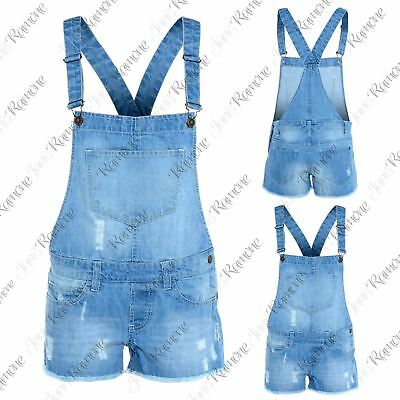 New Girls Kids Stone Wash Strappy Hot Pants Jeans Denim Shorts Dungaree Jumpsuit