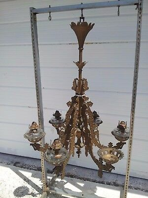 "ANTIQUE 1800's ORNATE BRADLEY & HUBBARD 6 ARM CHANDELIER OIL CAST IRON 42"" TALL"