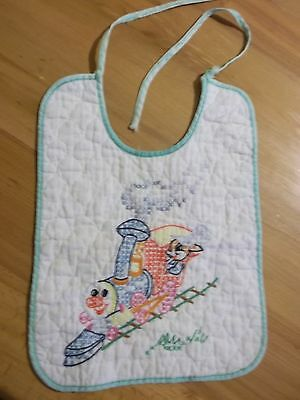 Vintage Embroidered Cotton Baby Child Bib Hand Stitched Trainsome fraying