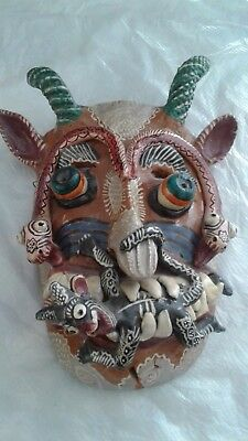 Mexican Pottery Mask Obtained in OCUMICHO 1976 snakes, victim, horns, got it all