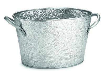 TableCraft Oval Stainless Steel Beverage Tub with Galvanized Pebbled...