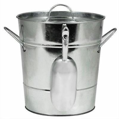 True Fabrications Twine Galvanized Steel Ice Bucket with Removable Lid and Scoop