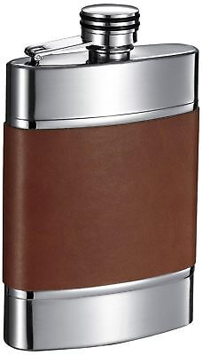 """Visol """"Wickeln"""" Leather Liquor Flask, 6-Ounce, Brown"""
