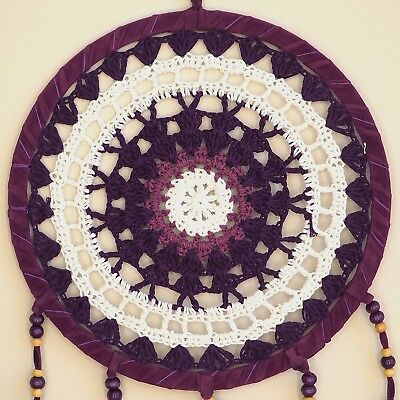 Purple White Pink Dream Catcher by Bohemian Merchant Large Handmade Crochet K...