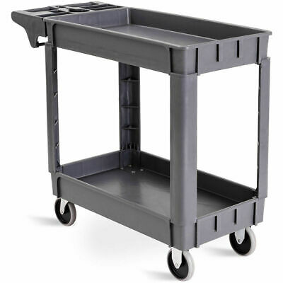 "39"" x 17"" x 33""Plastic Utility Service Cart 550 LBS Capacity 2 Shelves Rolling"